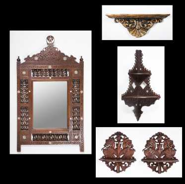 Four Middle Eastern Wall Shelves and Mirror