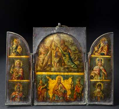 18th/19th Century Greek Icon, Triptych