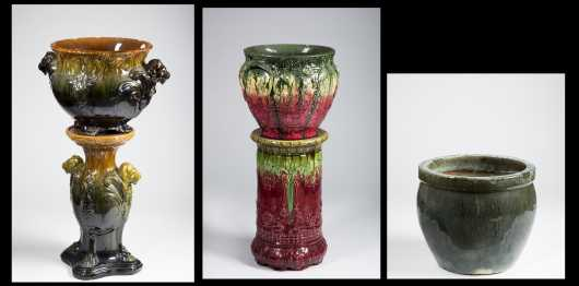 Three Majolica Garden Urns