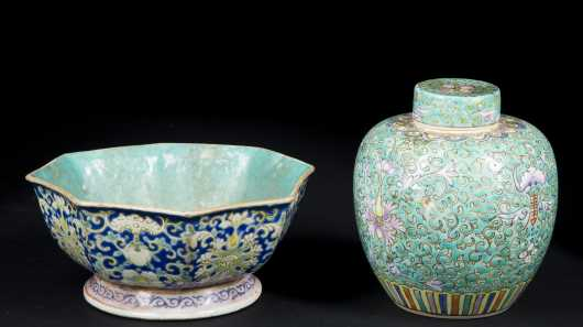 Chinese Porcelain Bowl and Covered Ginger Jar