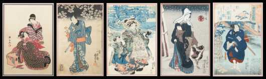 Five Japanese Block Prints