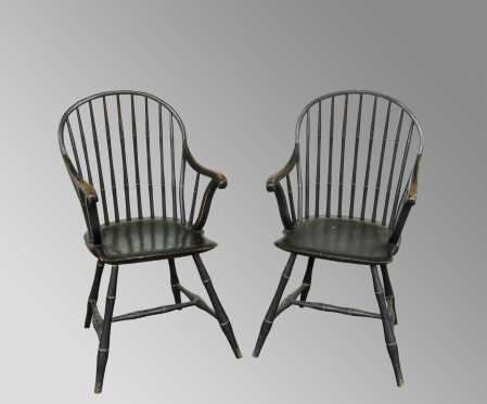 Pair of Bow Back Windsor Armchairs