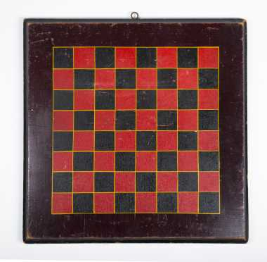 Black and Red Painted Checker Board
