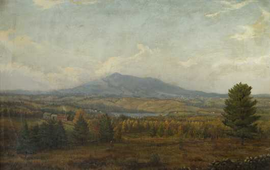 Joseph A Ropes, 1812-1885, Mass/New York, oil on canvas painting of Mt. Monadnock