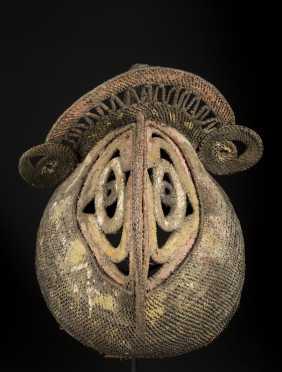 An Abelam woven cane yam mask
