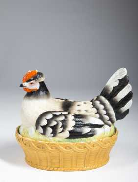 Large Polychrome Chicken On A Nest