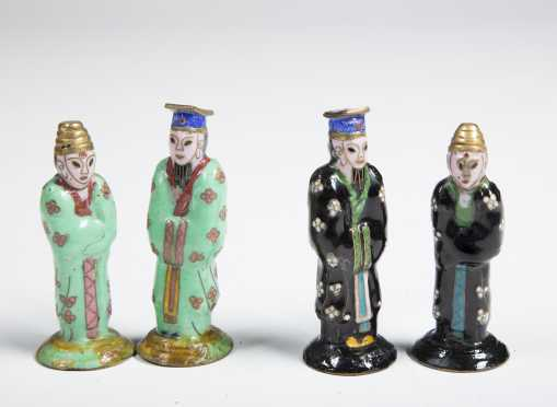 Chinese Cloisonné Chess Set,