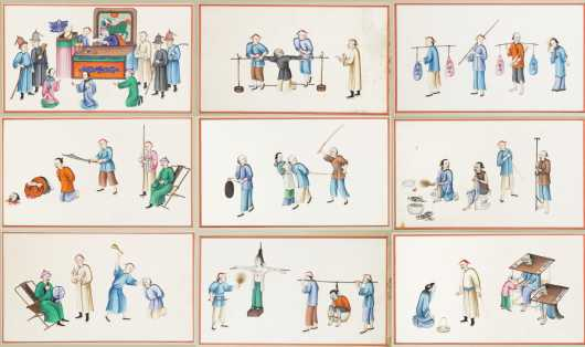A Set of Twelve Chinese Export Paintings on Pith Paper