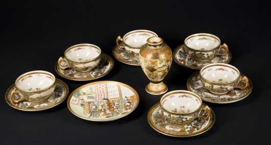 Fine Meiji Period Satsuma Tea Set