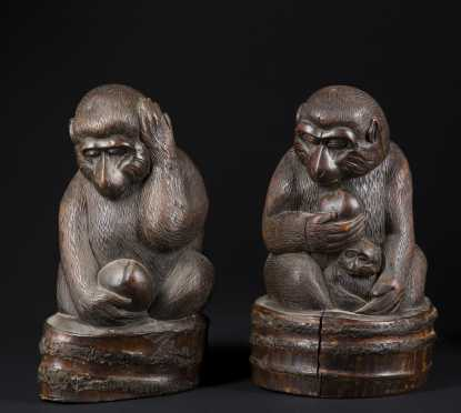 Pair of Asian Carved Bamboo Monkeys
