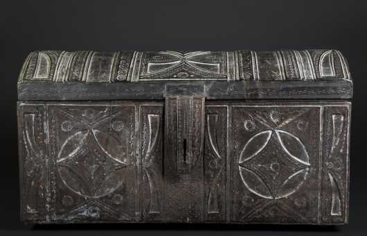 Middle Eastern Leather Dome Trunk