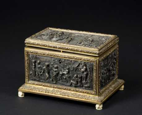Continental Bronze Figural Relief Box