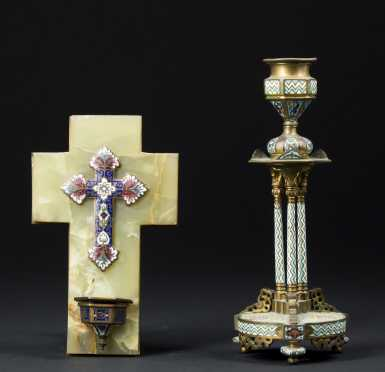Enamel and Bronze Cross and Candlestick