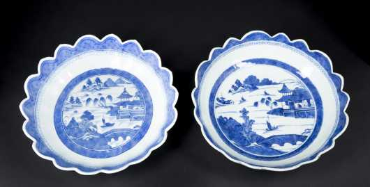 Two Similar Canton Scalloped Edge Bowls