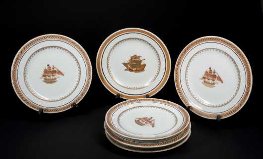 Seven Chinese Export Ship Decorated Plates