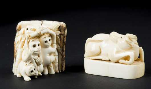 Carved Netsuke and Figural Seal