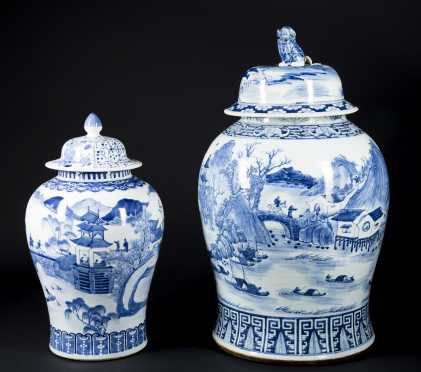 Chinese Baluster Form Blue and White Jars