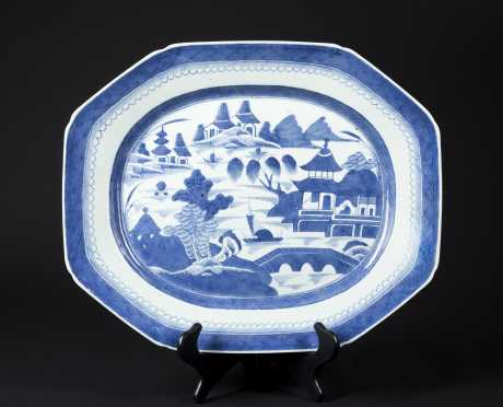 Chinese Canton Blue and White Platter
