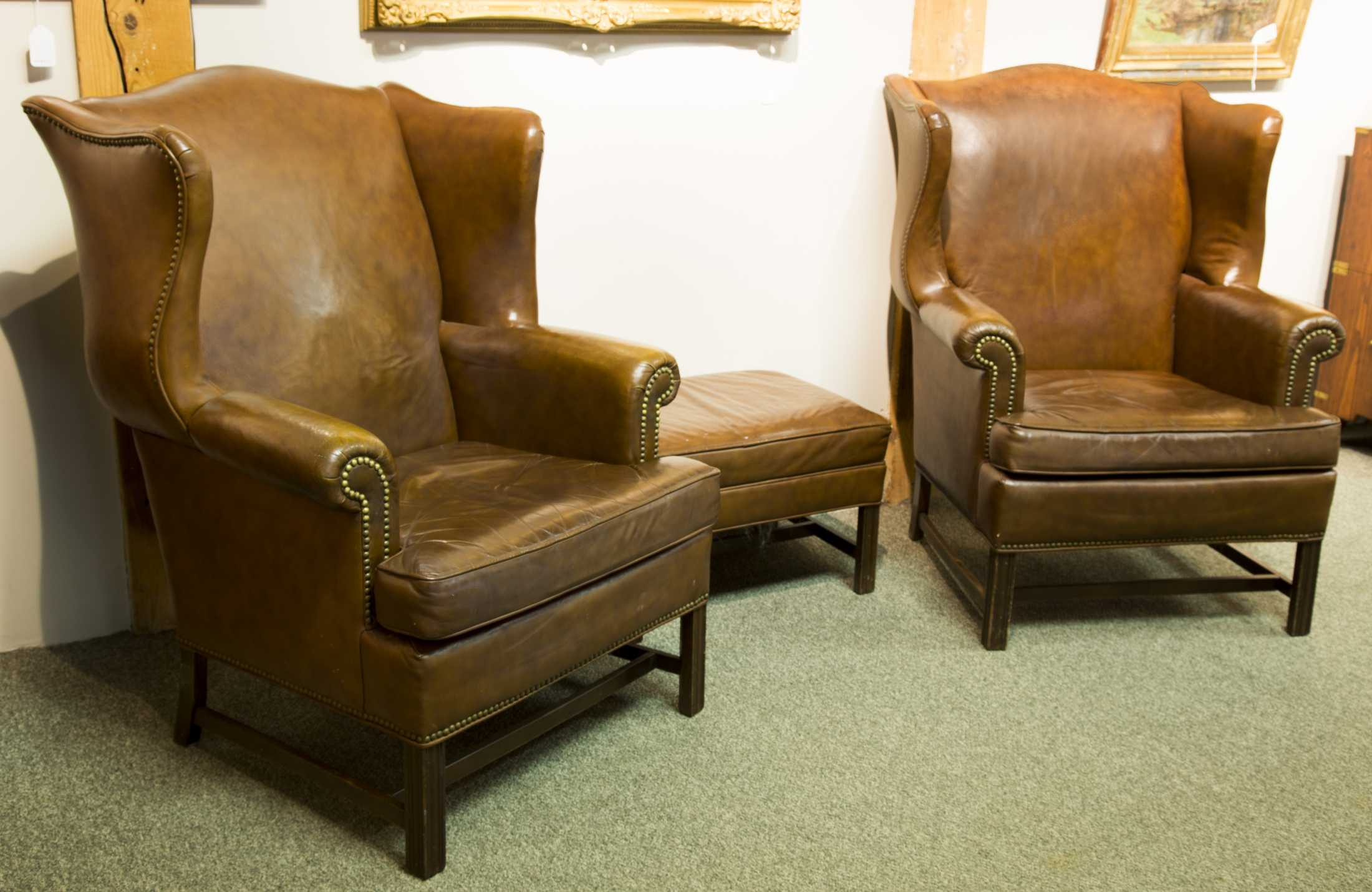 "of ""Ethan Allen"" Leather Wing Chairs with Ottoman"