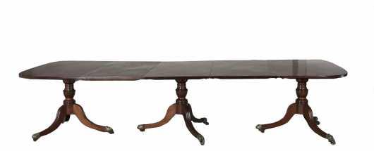 English Regency Three Pedestal Banquet Table