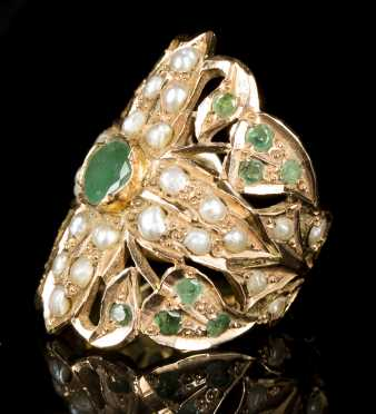 Yellow Gold, Emerald and Seed Pearl Ring