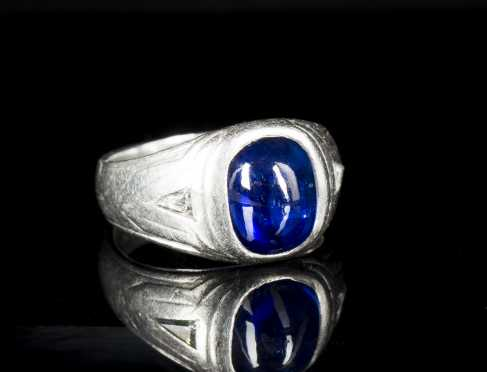 Cabochon Sapphire and Platinum or White Gold Ring