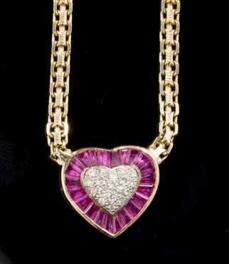 Heart Shaped Ruby and Diamond Pendant