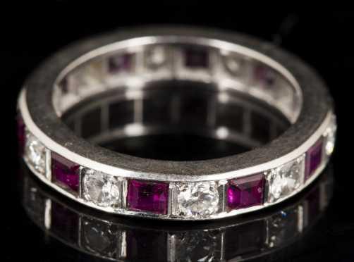Ruby, Diamond and Platinum Eternity Band