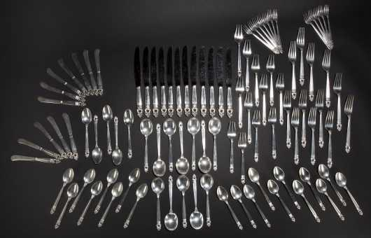 "International Sterling, ""Royal Danish"" silver table service set for 12"