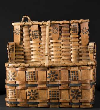 Maine Native American Decorated wall basket