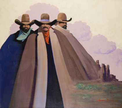 "James Darum ""Mountain Men"" acrylic on canvas"