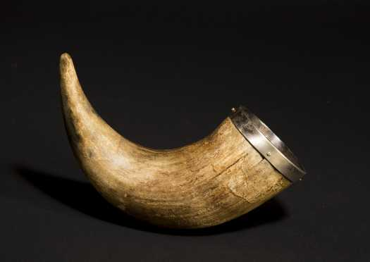 Silver and Horn Toasting Cup