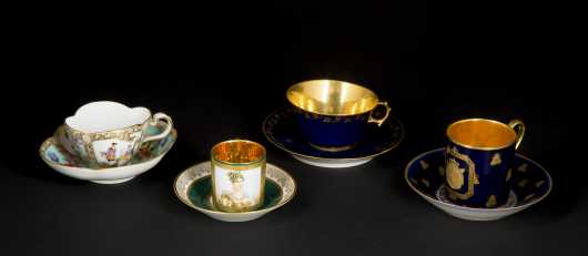 Four Continental Cups and Saucers