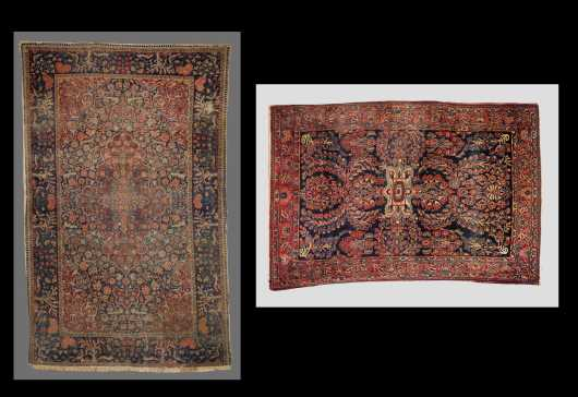 Two Antique Sarouk Scatter Rugs
