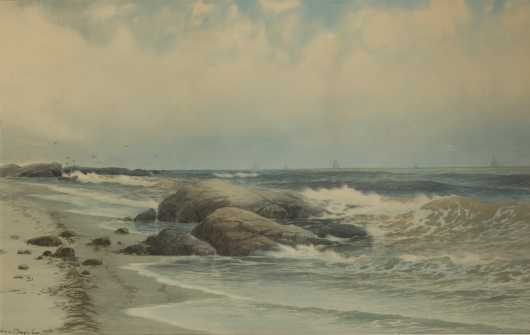 George Howell Gay, watercolor painting of a coastal scene