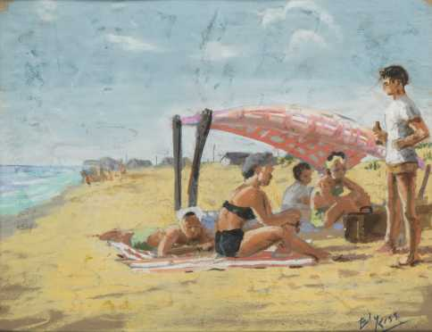 Ely (Eleanor) Kish (Kiss) pastel painting of a beach scene