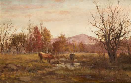 William Preston Phelps painting of two cows grazing with Mt Monadnock in the background