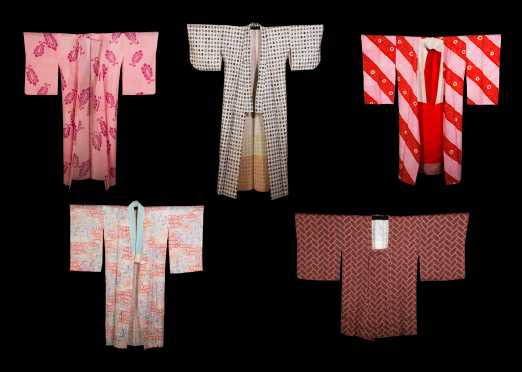 Lot of Five Kimono (hand dyed & painted)