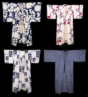 Lot of Four cotton Kimono