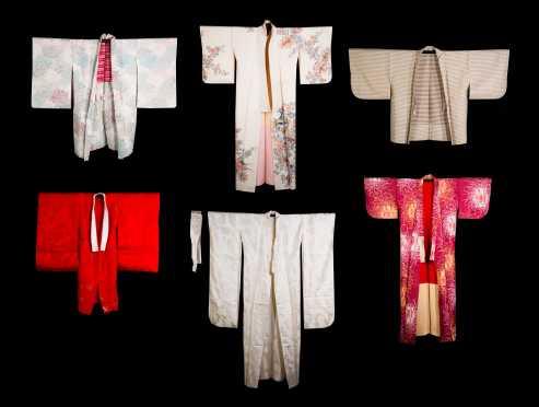 Lot of Six Japanese Silk Kimono