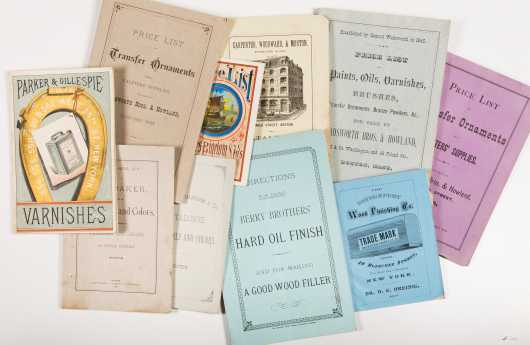 Catalogs for Paint and Varnish: Lot of late 1800s catalogs and related ephemera