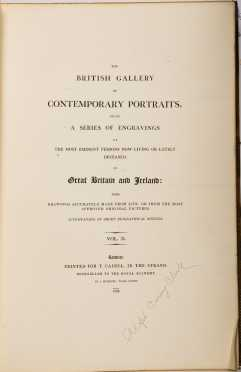 """""""The British Gallery of Contemporary Portraits, Being a Series of Engravings of the Most Eninent Persons now Living or Lately Deceased, in Great Britian and Ireland"""""""