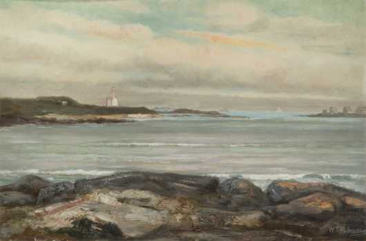 William T. Robinson, Oil on board painting of the NE Coast with sailboats