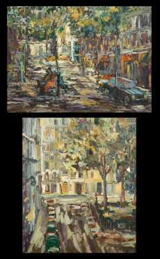 Anton Sepos, (B1938), Bosnia, two oil on canvas paintings of street scenes