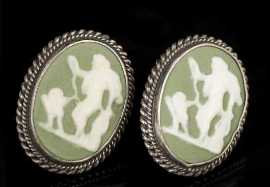 Pair of Green Cameo and Sterling Earrings