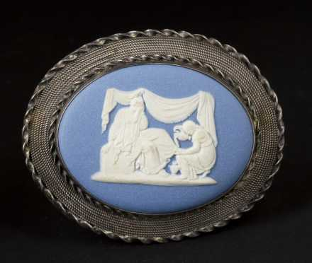 Jasperware and Sterling Silver Pin