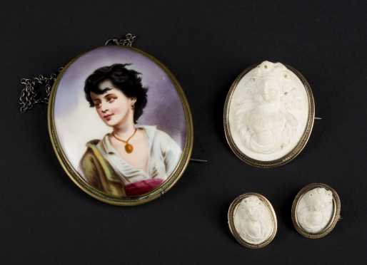 Painted Porcelain Portrait and Three Lava Stone Cameos