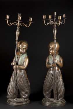 Pair of Bronze Turkish Candleabra