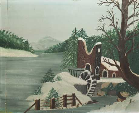 A.V.Craig, American, 19thC., Oil on bread board painting of a water-mill by a lake