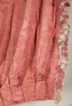Four Pairs of Rose Damask Drapes